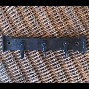 Forged iron small black 3 hook rack